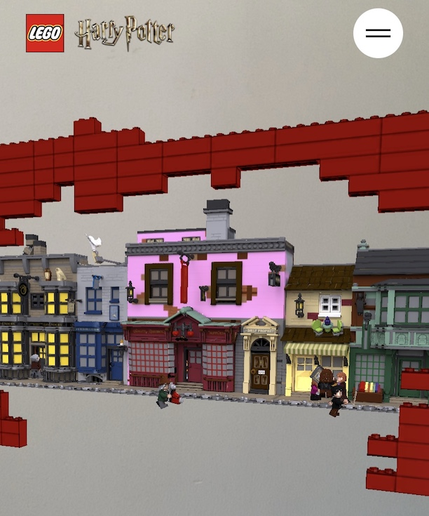 A screenshot of the LEGO Diagon Alley AR experience showing the upcoming LEGO set with moving minifigures.