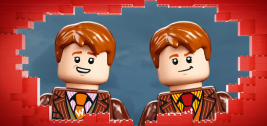 A product shot of Fred and George Weasley minifigures peering through a LEGO brickwall.