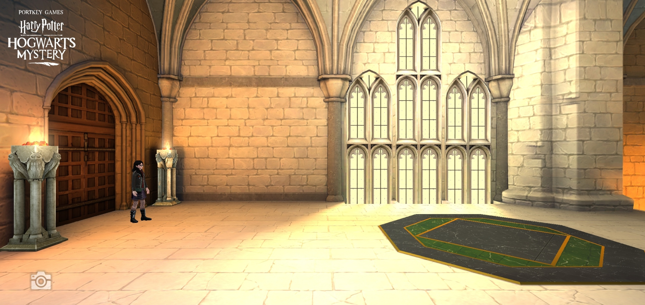 """Pictured is a view of the Dragon Clubhouse in """"Hogwarts Mystery""""."""