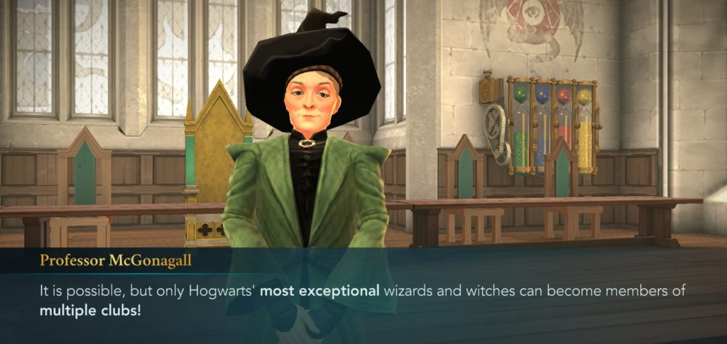 """Professor Minerva McGonagall has made clear that our characters can join more than one club in """"Hogwarts Mystery""""."""