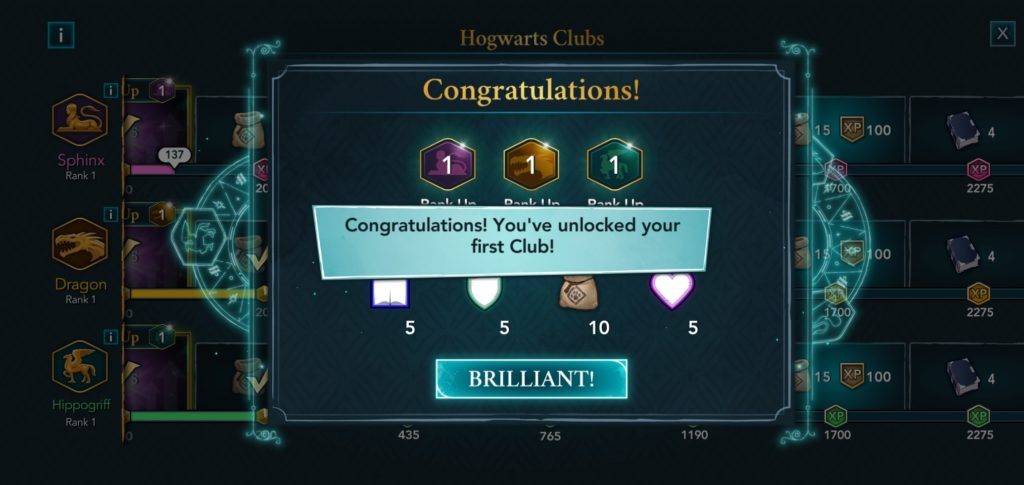 """Your character is congratulated on joining their first club in """"Hogwarts Mystery""""."""