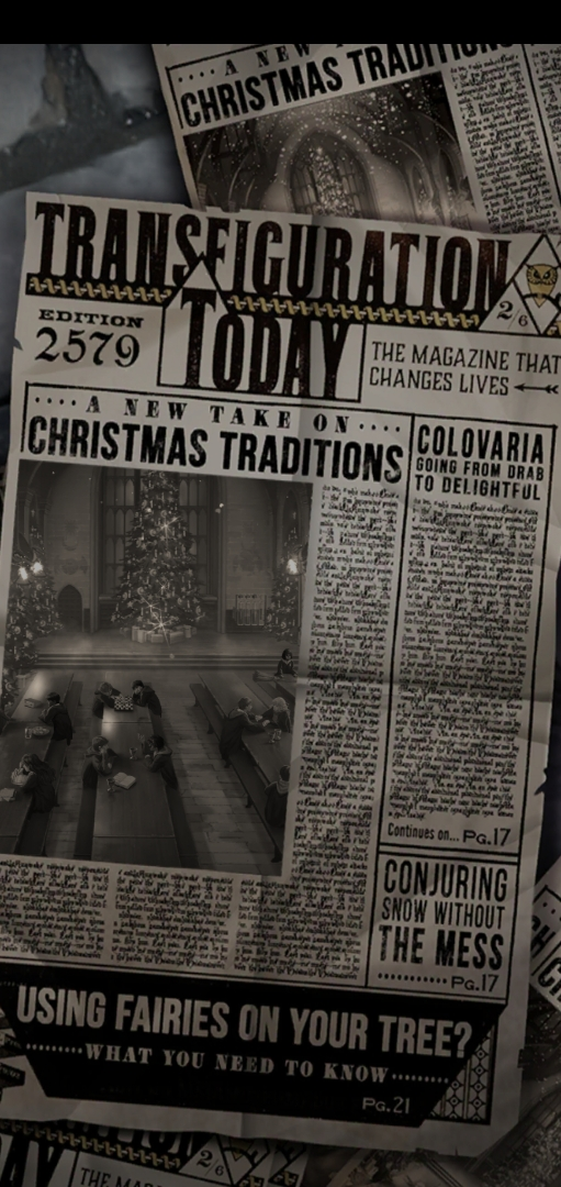 """An edition of """"Transfiguration Today"""" focuses on Christmas traditions at Hogwarts in """"Puzzles & Spells""""."""