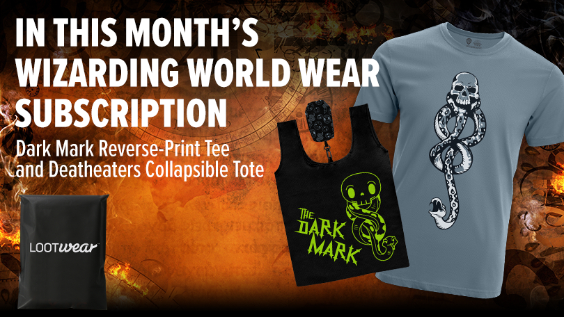 The Dark Arts Reverse-print T-shirt and Death Eater Collapsible Tote included in the Wizarding World Wear October crate from Loot Crate's Loot Wear are pictured.
