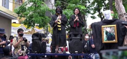 A scene at the Harry Potter protest in Thailand is pictured.