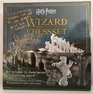 Rupert Grint's signed chess set for the War Child Fundraiser is pictured.