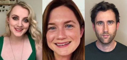 Screenshots from video messages sent by Evanna Lynch, Bonnie Wright, and Matthew Lewis for Children with Cancer UK's virtual Harry Potter party.