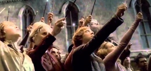 The students of Hogwarts memorialize Dumbledore's death by raising their wands to the sky