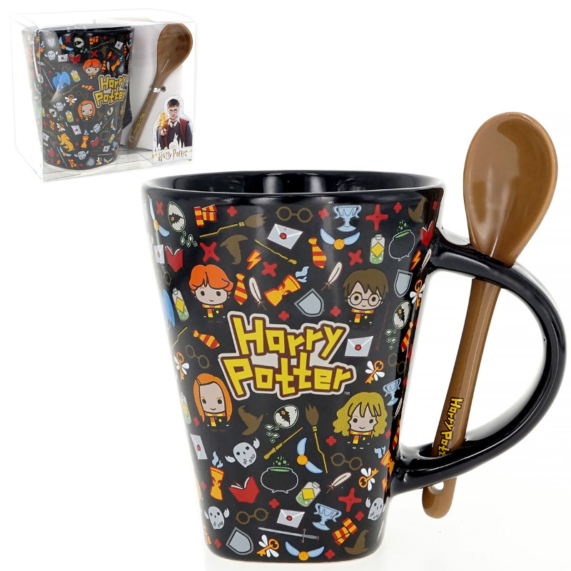 The Monogram International Harry Potter Mug with Spoon, as sold by Entertainment Earth for preorder, is pictured.