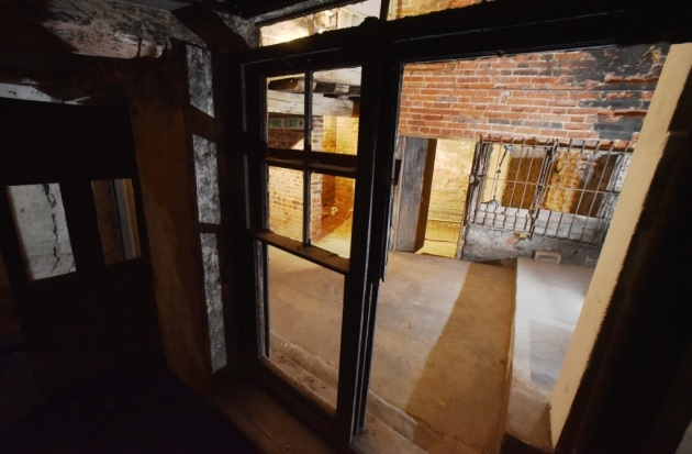 Pictured is a view from an abandoned shop out onto Norwich's hidden street.