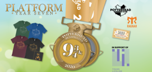 A banner for the Platform: Year Seven run from Potterhead Running Club is pictured.
