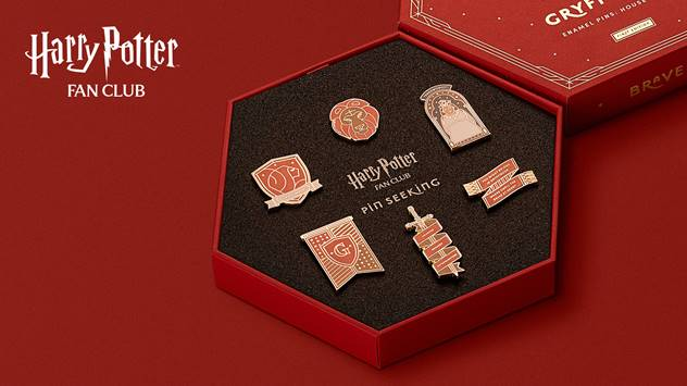 The Gryffindor pin set features the crest, the sword of Gryffindor, the lion, and more.