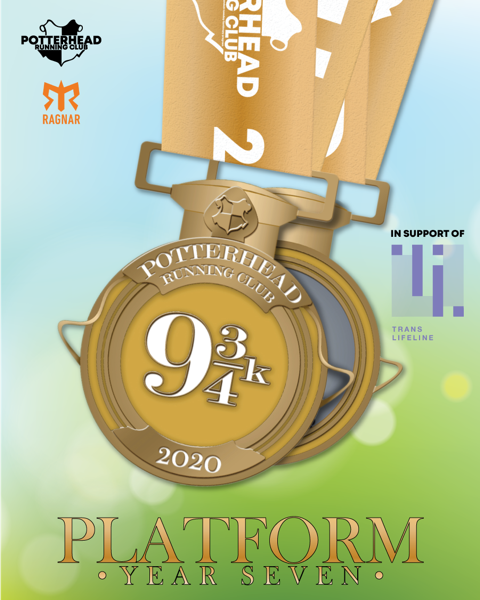 """The medal for the Platform: Year Seven virtual run from Potterhead Running Club is pictured. It is gold and features a """"9 3/4k"""" on its front."""