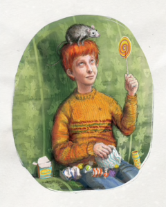 Illustration of Ron Weasley eating sweets on the Hogwarts Express