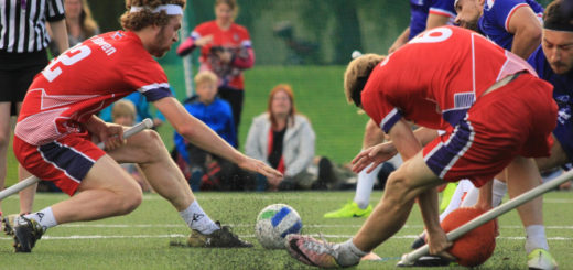 Muggle quidditch players are shown in play.