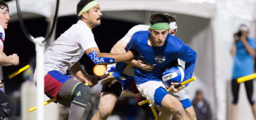 Muggle quidditch players, one in USA attire, are shown in play.