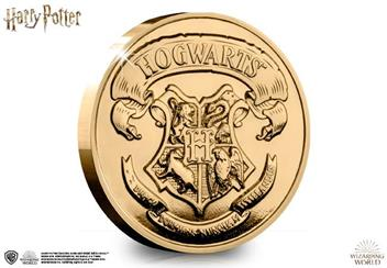 The Westminster Collection's Official Hogwarts Commemorative coin features the Hogwarts crest on one side.