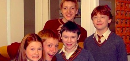"Bonnie Wright, James Phelps, Oliver Phelps, Devon Murray, and Rupert Grint pose for a photo behind-the-scenes during ""Harry Potter and the Chamber of Secrets""."