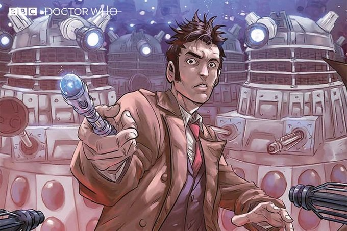 """David Tennant's Doctor is featured in comic book form for """"Doctor Who: Time Lord Victorious""""."""