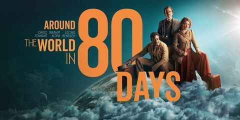 """David Tennant is pictured in a graphic for """"Around the World in 80 Days""""."""