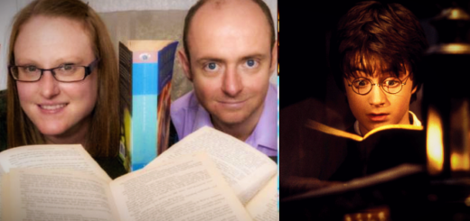 Scientists Dr Joanne Ingram and Dr Chris Hand are pictured with a copy of Harry Potter and the Order of Phoenix. Split screen shows young Harry reading and surprosed.