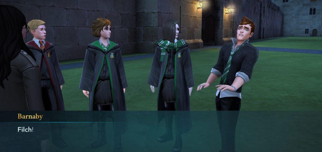 "Barnaby Lee is less than pleased to see Argus Filch in ""Hogwarts Mystery""."