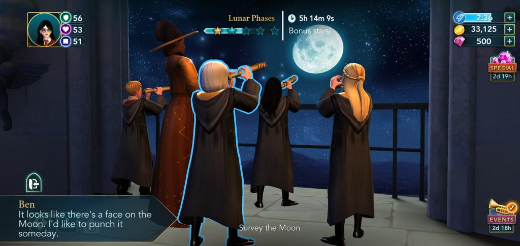 "Ben Copper has issues with the moon in ""Hogwarts Mystery""."