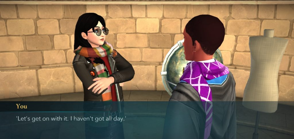 "Your character does a spot-on Patricia Rakepick impersonation in ""Hogwarts Mystery""."