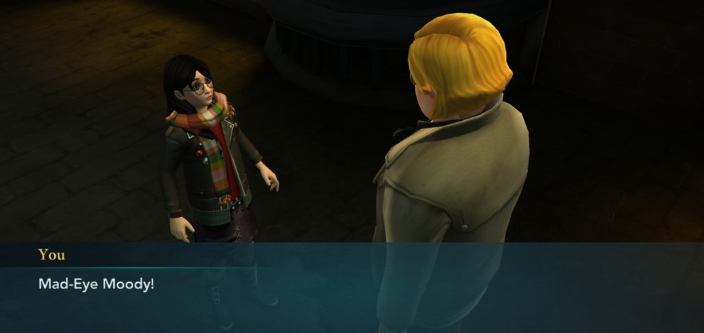 "Your character receives a visit from Mad-Eye Moody in ""Hogwarts Mystery""."