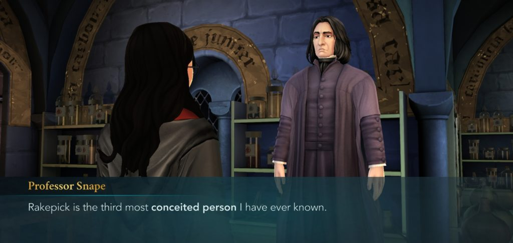 "Professor Snape continues to hold his grudges in ""Hogwarts Mystery""."