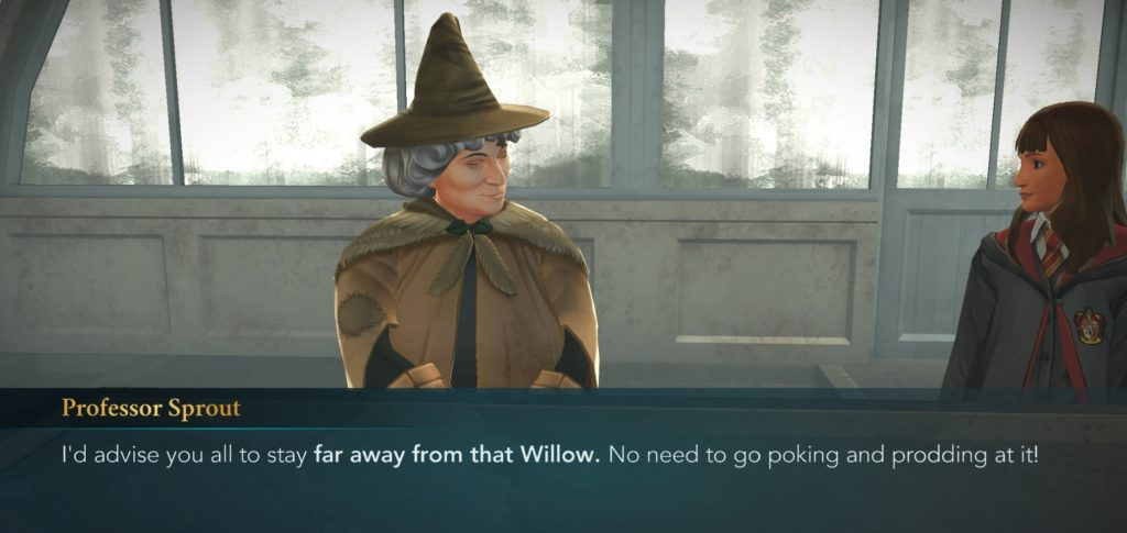 "Professor Sprout tells you to stay away from the Whomping Willow in ""Hogwarts Mystery""."