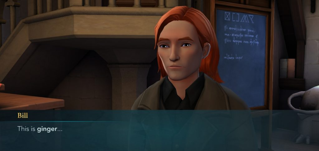 "Bill Weasley is somehow adept at identifying ginger hair in ""Hogwarts Mystery""."