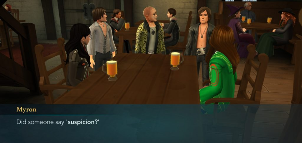 "The Weird Sisters are suspiciously lurking around the Three Broomsticks in ""Hogwarts Mystery""."