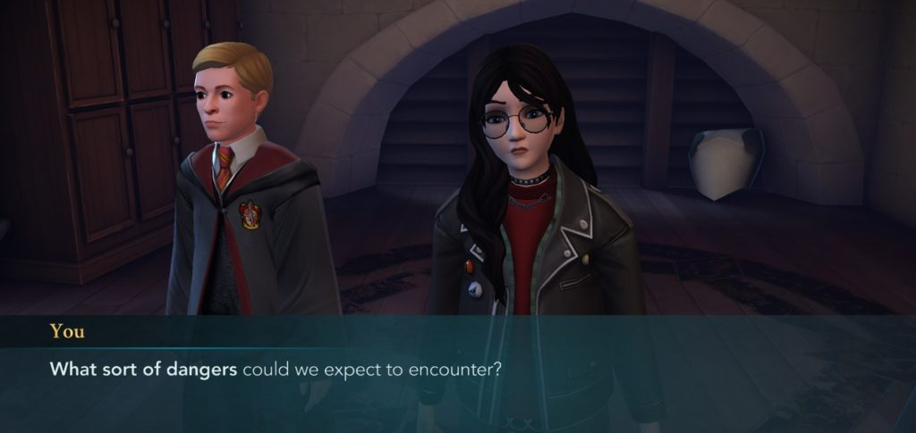 "Your character wonders what sort of dangers they'll encounter in ""Hogwarts Mystery""."