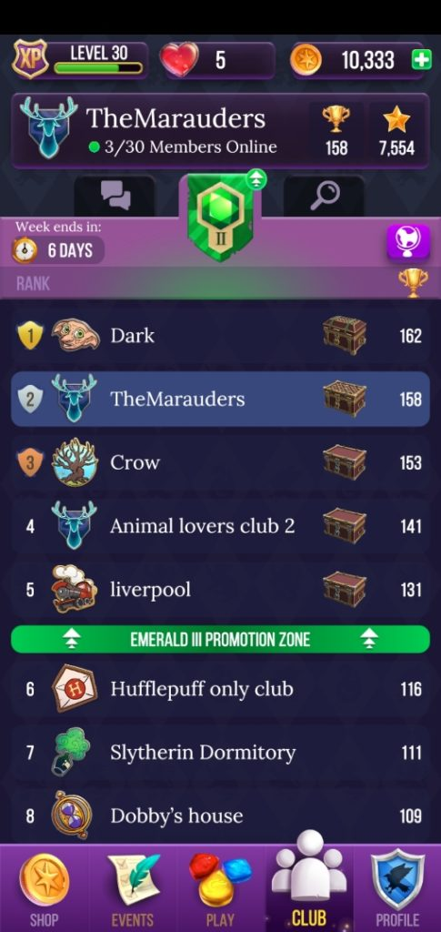 "Pictured is the leaderboard in ""Puzzles & Spells""."