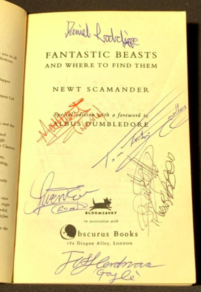"""A signed edition of """"Fantastic Beasts and Where to Find Them""""."""
