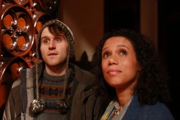 """Harry Melling and his woolly hat are pictured in a film still from """"Say Your Prayers""""."""