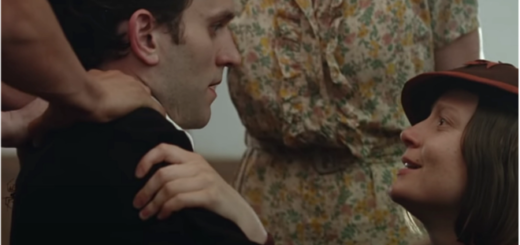 "Harry Melling, who portrayed Dudley Dursley in the ""Harry Potter"" film series, is shown at the left in a still from ""The Devil All the Time""."