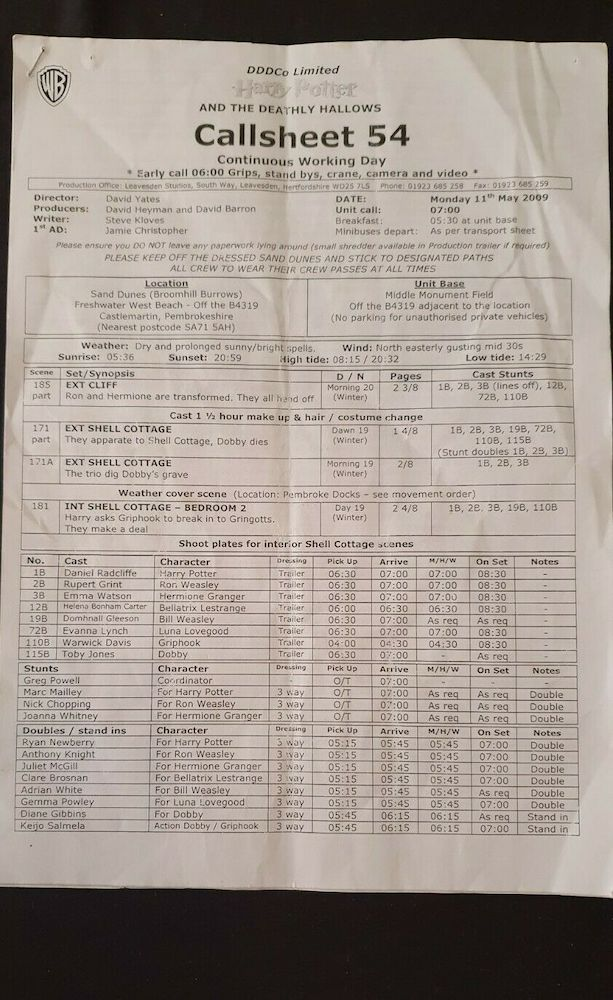 This call sheet is for some of the scenes filmed at Shell Cottage, including the scene in which Harry asks Griphook for help breaking in to Gringotts.