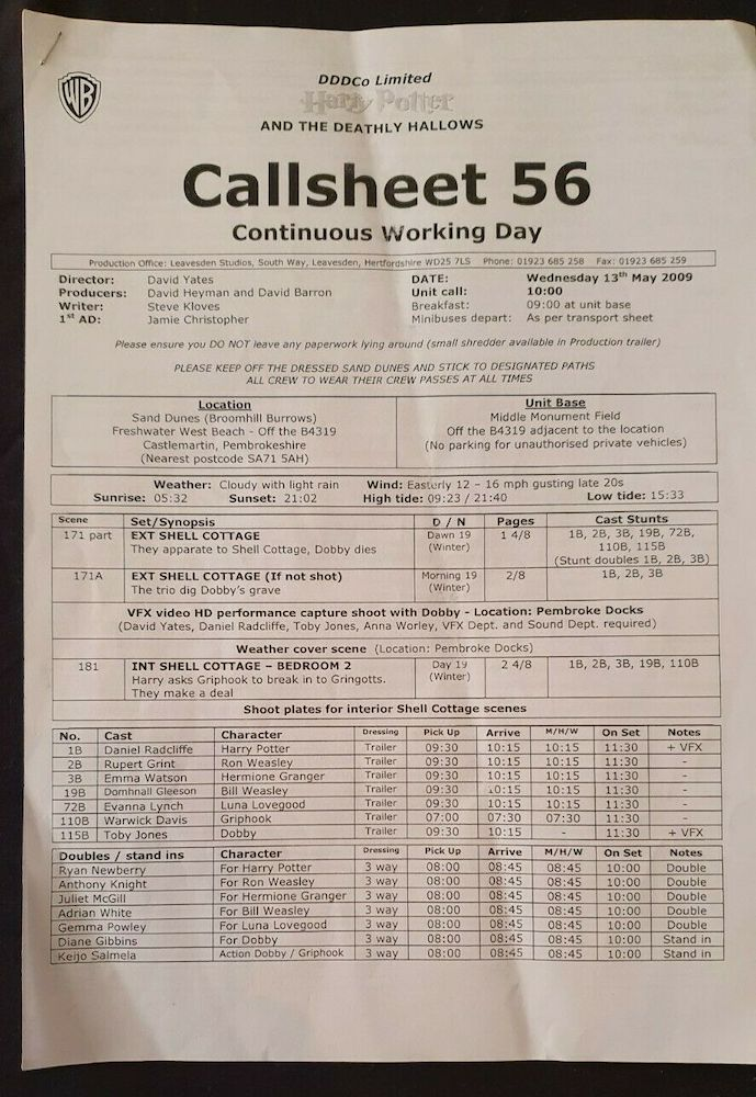 An interesting detail that can be seen in the call sheets is the pickup times. Warwick Davis often has a much earlier pickup time than the rest of the cast due to the time he had to spend in the makeup chair!