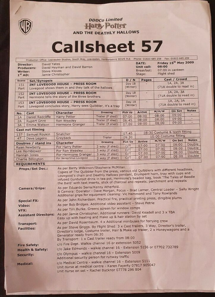 This call sheet is for scenes filmed inside the Lovegood house and notes a list of props required.