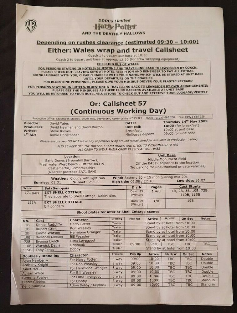 This call sheet shows the schedule for the end of filming in Wales and travel back to the studios in Leavesden.