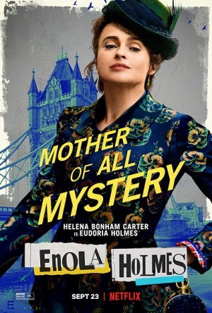 """Pictured is a character poster for """"Enola Holmes"""" featuring Helena Bonham Carter as the titular character's mother."""