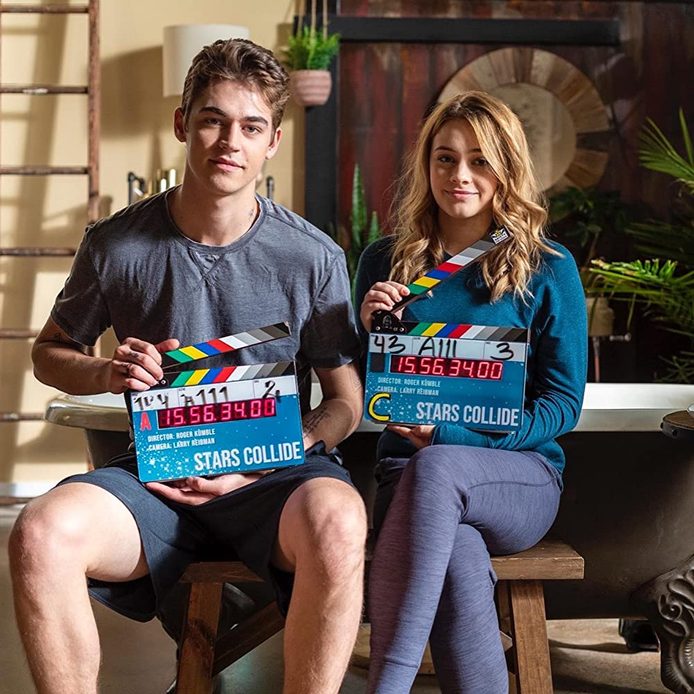 """Hero Fiennes-Tiffin and Josephine Langford prepare for a take in """"After We Collided""""."""