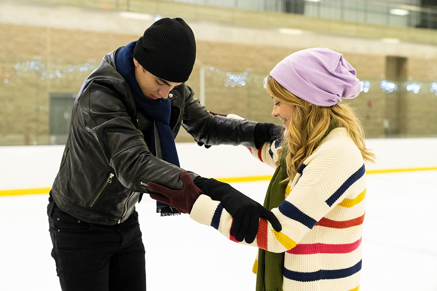 """Hero Fiennes-Tiffin and Josephine Langford go on a cheesy, awkward ice-skating date in """"After We Collided""""."""
