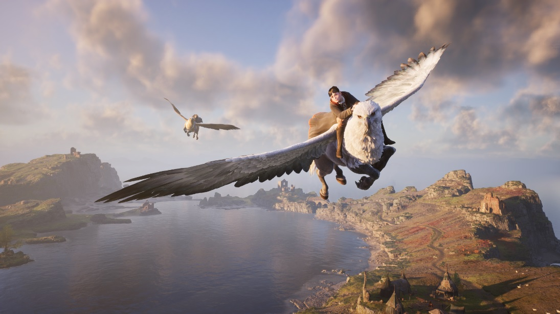 """A screenshot from """"Hogwarts Legacy"""" shows a character riding a hippogriff."""