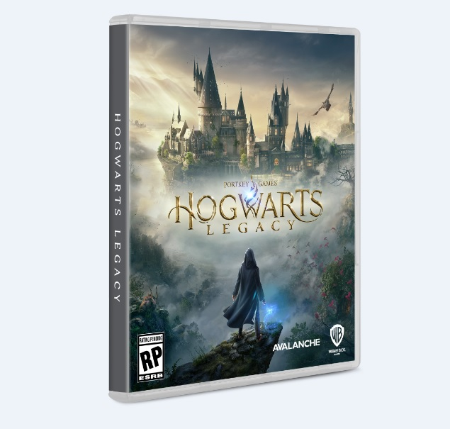 """Pictured is the packaging for """"Hogwarts Legacy""""."""