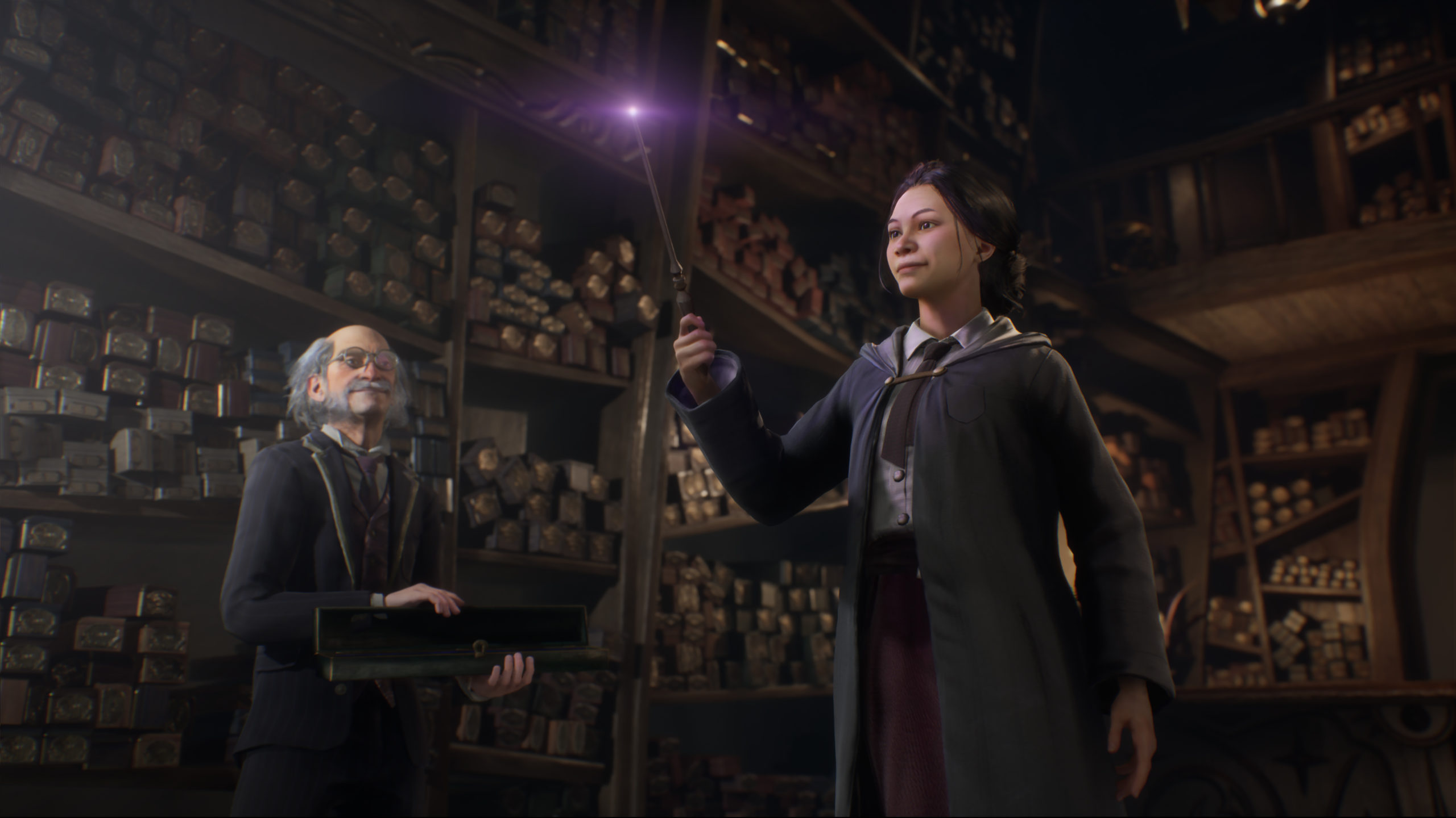 """A screenshot from """"Hogwarts Legacy"""" shows a character practicing a spell."""