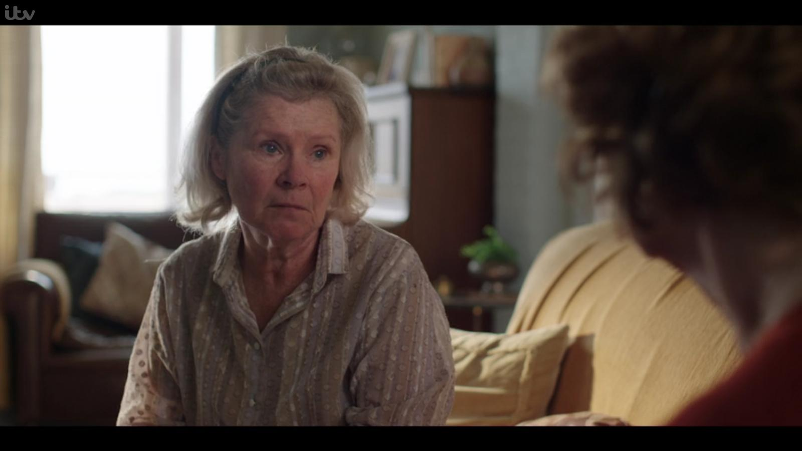 """Imelda Staunton looks concerned in a still from """"Flesh and Blood""""."""