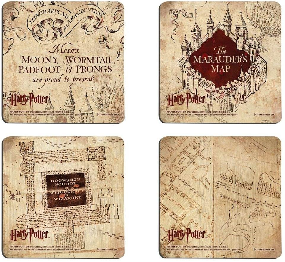 These drink coasters look like the Marauder's Map
