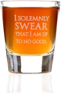 "This shot glass says ""I solemnly swear that I am up to no good"""